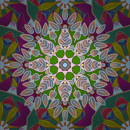motley: Vector illustration. In nice textile style on colorful background. Floral seamless pattern with watercolor flowers.