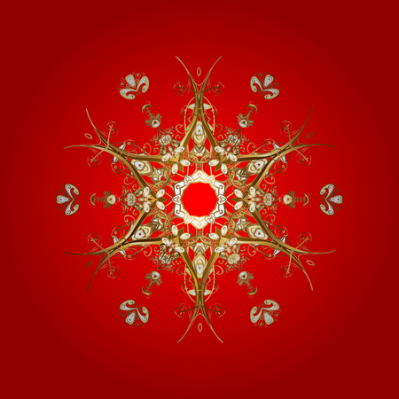 nobby: Texture with stylized golden snowflakes and dots on a red background. Starry Sky. Falling snow.
