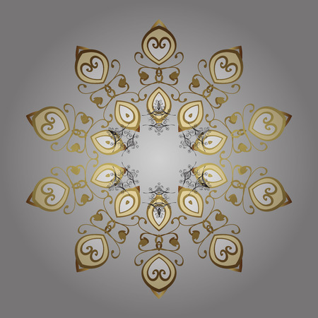 Golden snowflakes winter New Year frame. Vector ornamental pattern in colors on gray background. Illustration