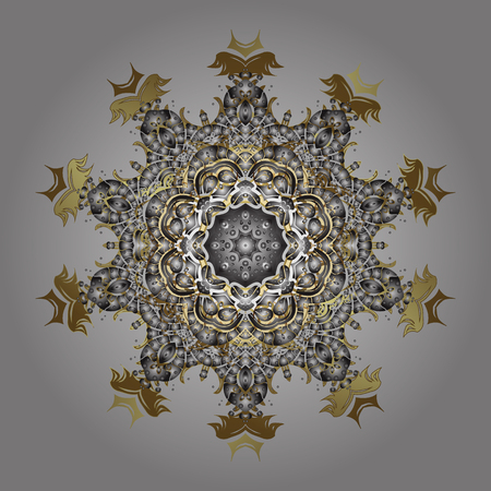 Vector illustration. Christmas frame with abstract golden snowflakes and dots on gray background.