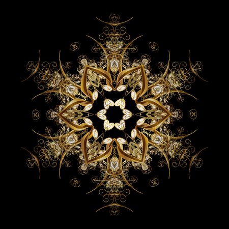 cross hatched: Vector golden snowflakes winter New Year frame. On black background. Illustration