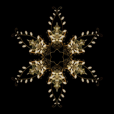 offering: Vector Christmas party design template. Abstract Christmass illustration with gold snowflakes on a black background.