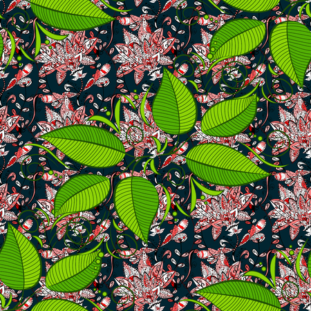 Seamless floral pattern with leaves, watercolor. Vector leaf illustration. Seamless pattern with floral motif. Illustration