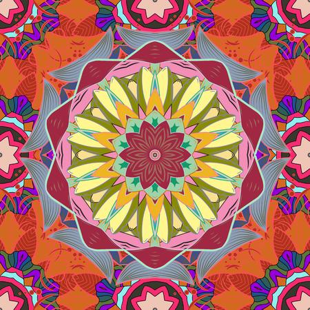 Vector Mandala. Boho style flower seamless pattern. Tiled mandala design, best for print fabric or papper and more. Background. Illustration