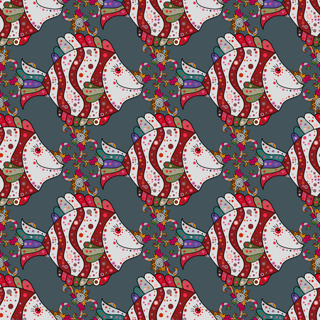swanky: Seamless pattern with fish. Cloth design, sketch. Sea fish on colored background. Vector illustration. Print. Repeating background.