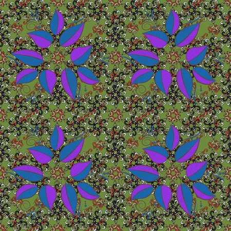 scattering: Vector illustration. Seamless leaf pattern can be used for sketch. Leaves on colorful background.