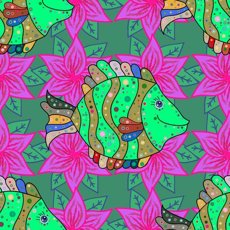 dorado: Sea fish on colored background. Ocean fish pattern. Vector illustration.