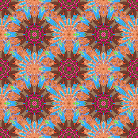 Vector Mandala. Tiled mandala design, best for print fabric or papper and more. Background. Boho style flower seamless pattern.
