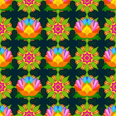 Seamless pattern with floral motif. Seamless floral pattern with flowers, watercolor. Vector flower illustration. Çizim