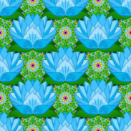 Bloemen op kleurrijke achtergrond in aquarel stijl. Naadloos bloemenpatroon in vectorillustratie. Stock Illustratie
