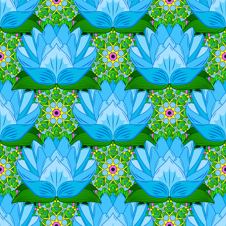 Flowers on colorful background in watercolor style. Seamless Floral Pattern in Vector illustration. Ilustração