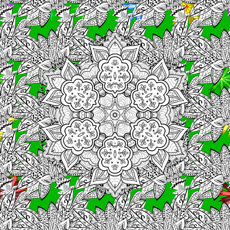 florid: For your design, sketch. Vector geometric background. White color illustration. White pattern on green background with white elements.