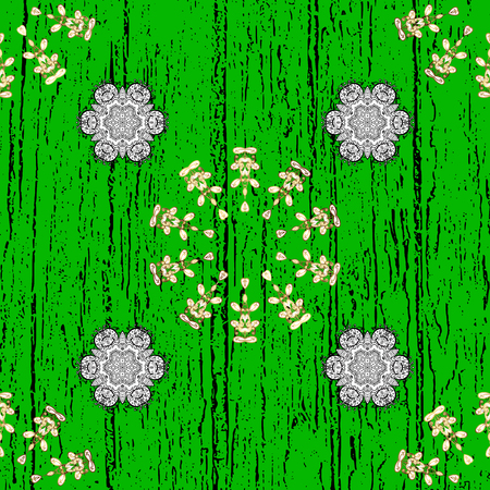 Ornate vector decoration. Vintage baroque floral pattern in over green and white. Element on green and white background. Luxury, royal and Victorian concept.