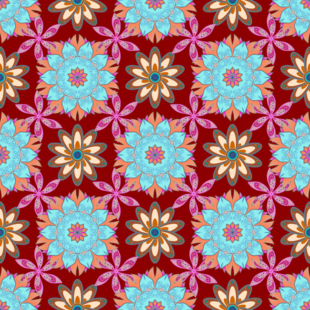 motley: Seamless pattern with flowers on motley background. Vector illustration of flowers.