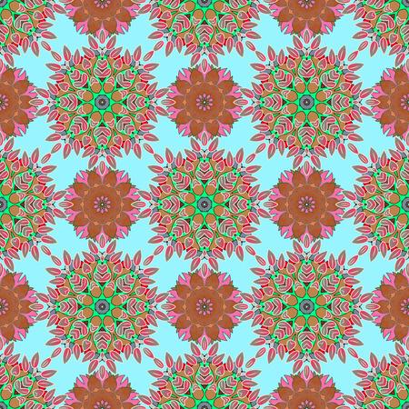 mehendi: Floral ornament seamless pattern. Round texture in Vector illustration. Illustration