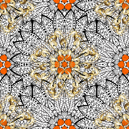 Classic oriental background. Damask ornament. Traditional vector and white pattern.