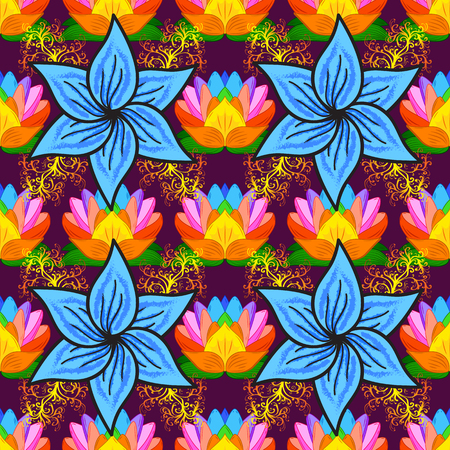 motley: Varicolored vector seamless illustration. Tropical seamless pattern with many abstract flowers.
