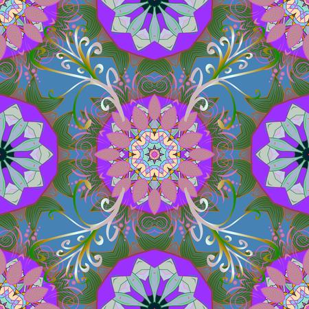 Orient, symmetry lace, meditation symbol. Blue. Abstract Tribal, ethnic texture. Vector Mandala colored. East, Islam, Thai, Indian, ottoman motifs. Mandala pattern. Arabic Vintage decorative ornament. Illustration