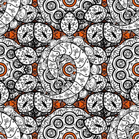 ?attern on orange and white background with white elements. Oriental style arabesques. Vector. White texture curls. Brilliant lace, stylized flowers, paisley. Openwork delicate pattern.