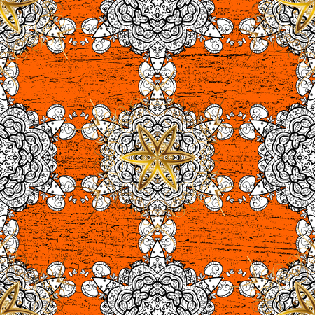 Symbol holiday, New Year celebration vector white pattern with white elements. Winter snow texture sketch. White snowflakes on orange background. Christmas snowflake pattern.