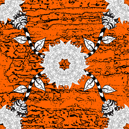 Traditional orient ornament. Classic vintage background. Classic vector orange and white and white pattern. Illustration