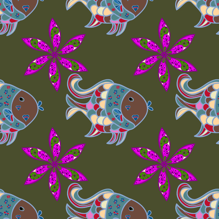 diskus: On colored background. Vector illustration. Hand drawn fish. Sea collection seamless pattern.