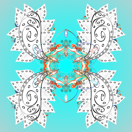 Abstract minimal ornamental pattern background. Vector snowflakes on a background.