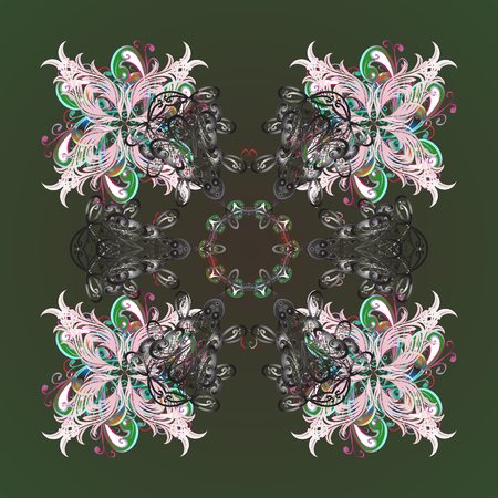 Ornamental design on background. Abstract ornamental with Floral Elements. Vector winter pattern.