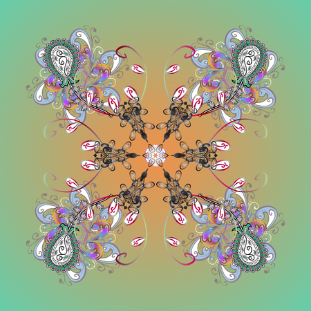 leaden: Christmas frame with abstract snowflakes and dots on colors background. Vector illustration. Snowflake frame.
