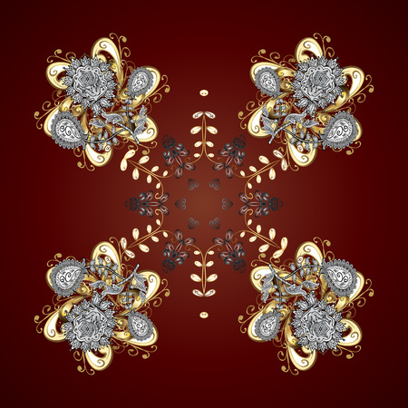 Christmas frame with abstract golden snowflakes and dots on brown background. Vector illustration. Snowflake frame.
