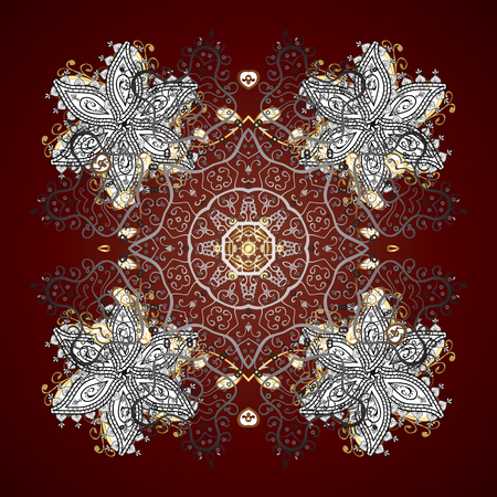 Golden snowflakes pattern in brown colors. Vector with stylized snowflakes.