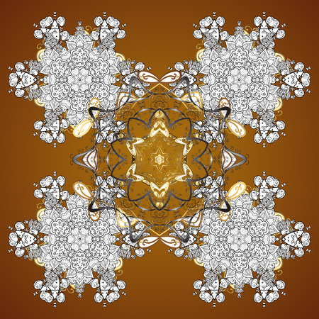 Vector design. Christmas Stylized Snowflakes on a brown Background. Seamless Repeating Pattern. Illustration