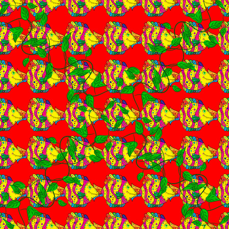Seamless pattern with school of fish, Vector illustration.