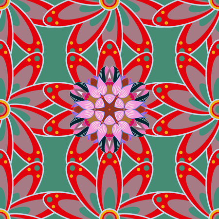 Flowers on colorful background. Vector illustration. Cute Floral pattern in the small flower. Illustration