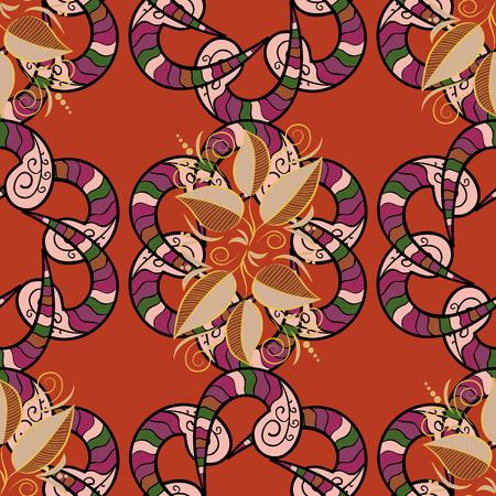 Modello circolare mandala astratto di vettore. Mandala colorata su un baqckground. Ornamento rotondo con rami intrecciati, fiori e riccioli. Arabesco.