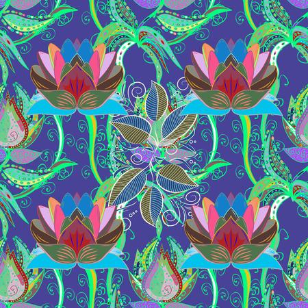 カラフルな背景。ベクトルの図。美しいファブリックのパターン。ベクトル図のシームレス花柄  イラスト・ベクター素材