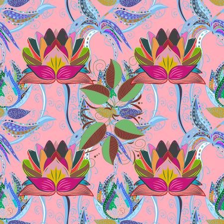 水彩画の効果。ベクトル パターン。植物のシームレスなパターン。有機の要素。