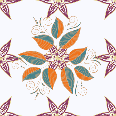 Seamless leaf pattern can be used for sketch, website background, wrapping paper, invitation, flyer, banner or website. Hand drawn Vector illustration. Of bright elements.