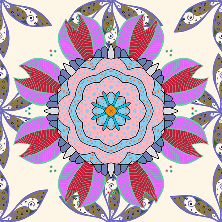 Traditional indian style, ornamental floral elements for henna tattoo, colored stickers, flash temporary tattoo, mehndi and yoga design, cards and prints. Vector sketch of colored mehndi mandala on.