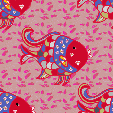 Cute fabric texture on colored background. Interesting drawn pattern with fishes. Seamless marine background.