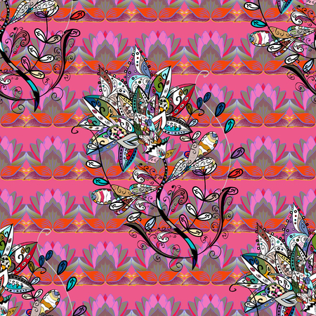 Vector pattern. Pattern with spring flowers with branch, on colorful background with flower silhouette.