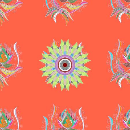 curlicues: Vector illustration. Flowers on colorful background. Tropical seamless floral pattern. Illustration