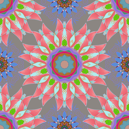 Arabesque. Vector circular abstract mandalas pattern. Round ornament with intertwined branches, flowers and curls. Colored Mandala on a baqckground.
