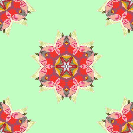 luster: Rich ethnic striped seamless pattern geometric design. Mandala style. Colored mandala on colorful background. Vector illustration.
