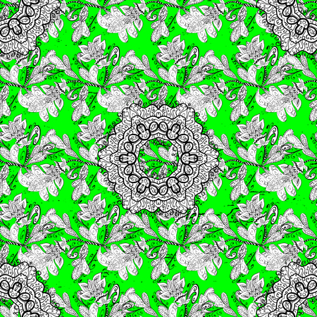 Vector background. Sketch baroque, damask. White elements on green and white background. Floral pattern. Stylish graphic pattern. Illustration