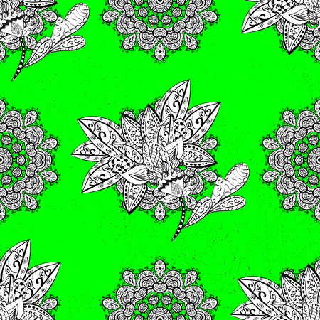 Floral ornament brocade textile pattern, glass, metal with floral pattern on green and white background with white elements. Classic vector white pattern.