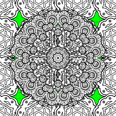 Pattern on green and white background with white elements. Classic vintage background. Traditional orient ornament. Classic vector pattern.