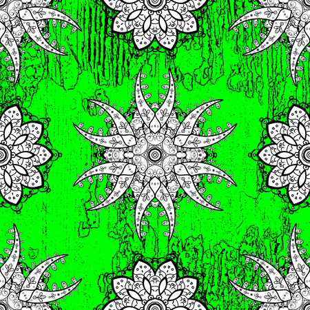 White texture curls. Brilliant lace, stylized flowers, paisley. Vector. Oriental style arabesques. Openwork delicate pattern. ?attern on green background with white elements. Illustration