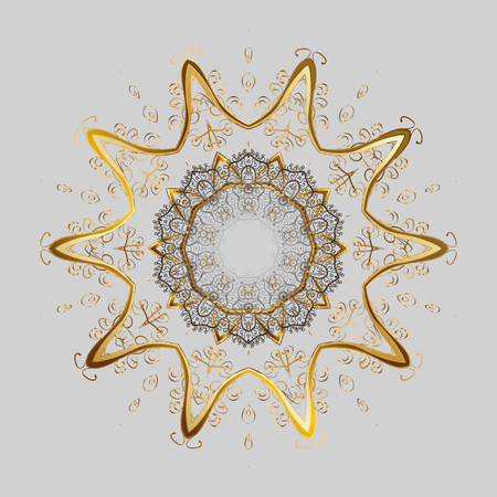 Vector ornamental pattern in colors on gray background. Golden snowflakes winter New Year frame.