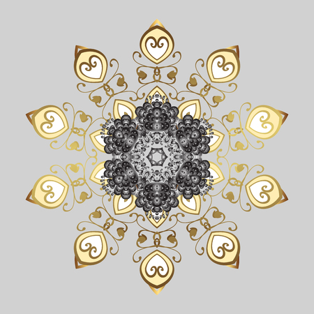 Ornamental Repeating Pattern. Vector design. Christmas Stylized Golden snowflakes on a Black Background. Illustration